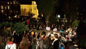 A group of Boğaziçi University students protested President Erdoğan's appointment of Mehmed Özkan as the new rector, at the university campus on Saturday night.