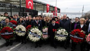 US Consul General to Istanbul Jennifer Davis (5th L) and Israel Consul General to Istanbul Yousaf Junaid (7th L) leave wreaths for the victims at site of Istanbul terror attacks in Istanbul's Besiktas, Turkey on December 12, 2016. At least 38 people, including 7 civilians, were killed and 155 people were injured in two separate bomb attacks in the Besiktas district of Istanbul on December 10, 2016.