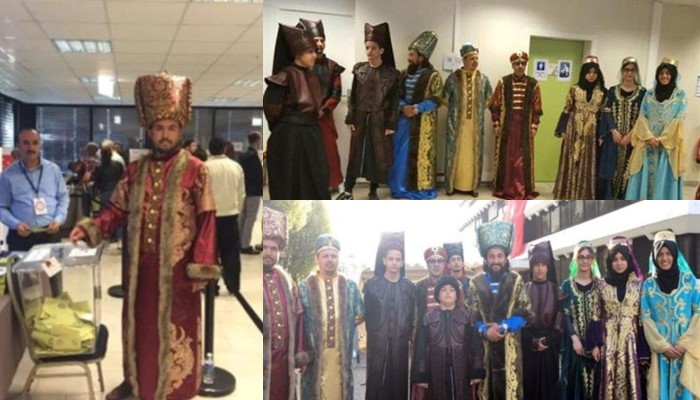 a constitutional package that will increase president recep tayyip erdoa an s powers in traditional ottoman dress at the turkish consulate in strasbourg