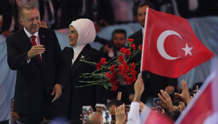 Turkeys akp changes top management reinforces erdoans leadership turkish president recep tayyip erdogan l and his wife emine erdogan r greet supporters of the ruling justice and development party akp during the m4hsunfo